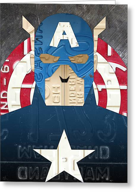 Captain America Greeting Cards - Captain America Superhero Portrait Recycled License Plate Art Greeting Card by Design Turnpike