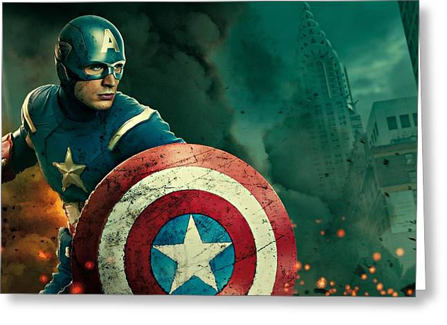 Movie Poster Prints Greeting Cards - Captain America the Avenger Greeting Card by Movie Poster Prints