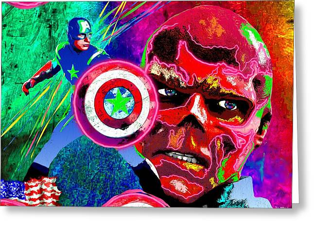 Captain America Paintings Greeting Cards - Captain America Vs Red Skull Greeting Card by Daniel Janda