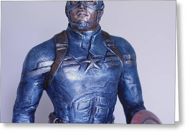 Great Sculptures Greeting Cards - Captain America Greeting Card by Wayne Headley