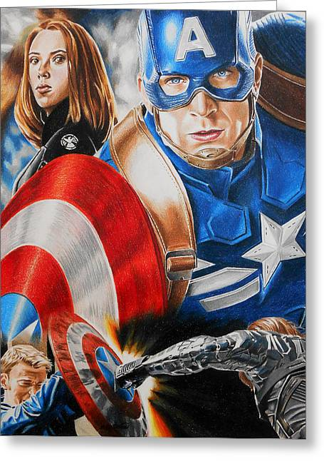 Chris Evan Greeting Cards - Captain America Winter Soldier Greeting Card by Joseph Christensen