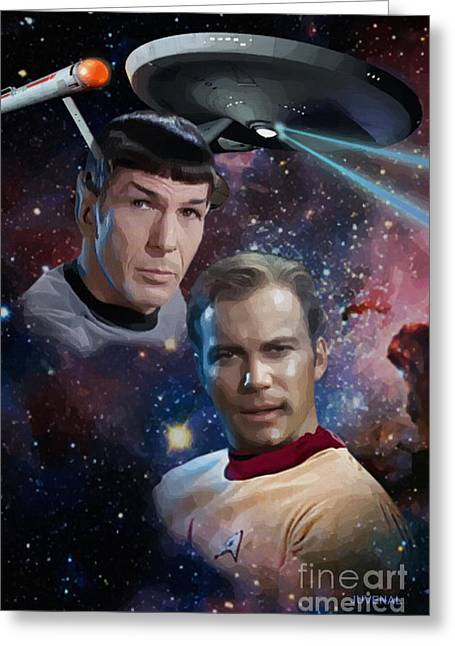 Enterprise Digital Art Greeting Cards - Captain and First Officer Greeting Card by Joseph Juvenal
