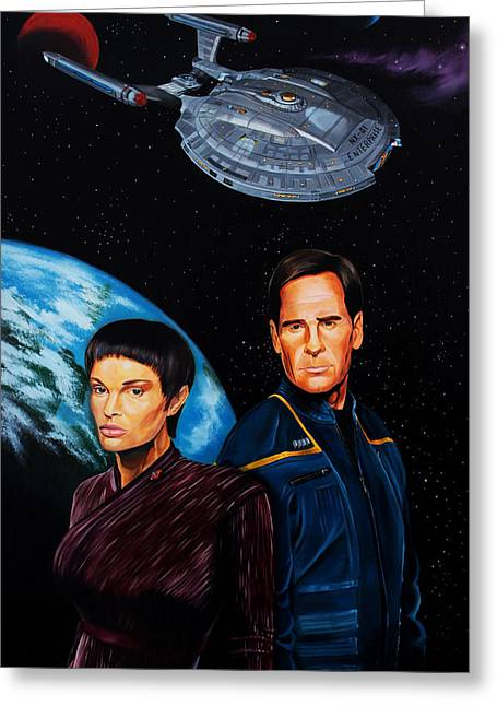 Best Sellers -  - Enterprise Paintings Greeting Cards - Captain Archer and T Pol Greeting Card by Robert Steen