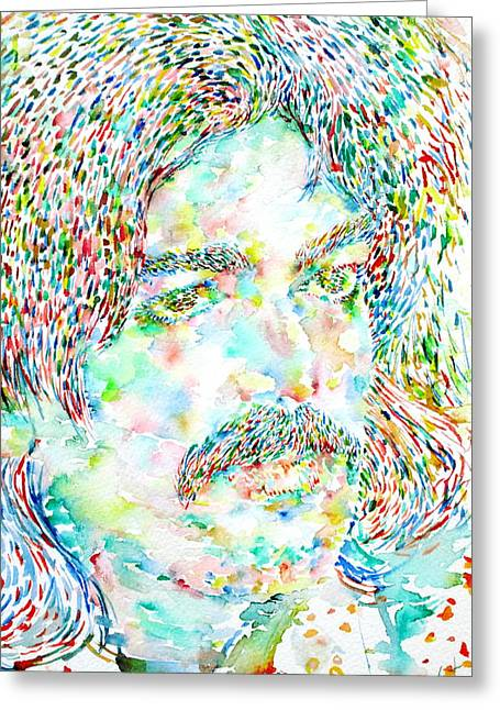 Psychedelic Van Greeting Cards - Captain Beefheart Watercolor Portrait Greeting Card by Fabrizio Cassetta