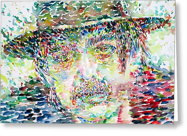 Psychedelic Van Greeting Cards - Captain Beefheart Watercolor Portrait.1 Greeting Card by Fabrizio Cassetta