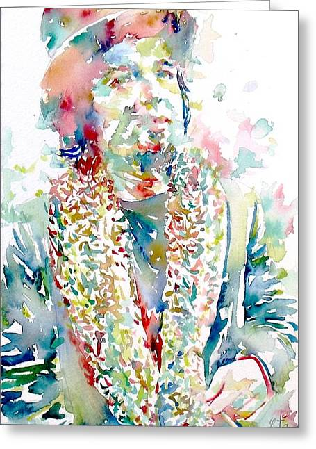 Trenches Paintings Greeting Cards - Captain Beefheart Watercolor Portrait.2 Greeting Card by Fabrizio Cassetta