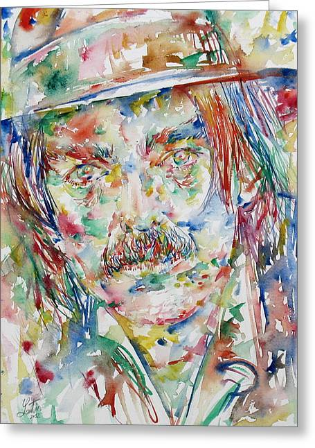 Psychedelic Van Greeting Cards - Captain Beefheart Watercolor Portrait.3 Greeting Card by Fabrizio Cassetta