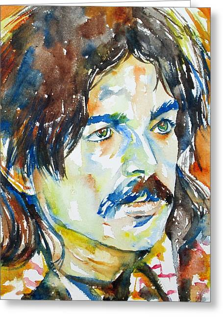 Psychedelic Van Greeting Cards - Captain Beefheart Watercolor Portrait.4 Greeting Card by Fabrizio Cassetta