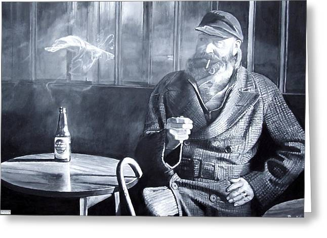 Sailor Hat Greeting Cards - Captain Birdseye, 2008 Oils Greeting Card by Kevin Parrish