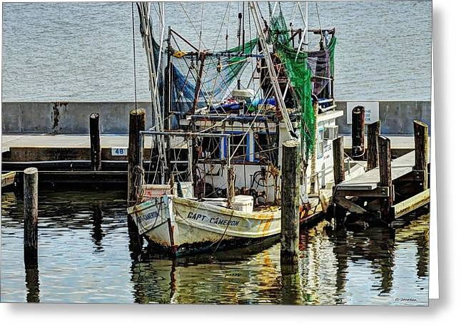 Shrimp Boat Captains Greeting Cards - Captain Cameron Greeting Card by Cathy Jourdan