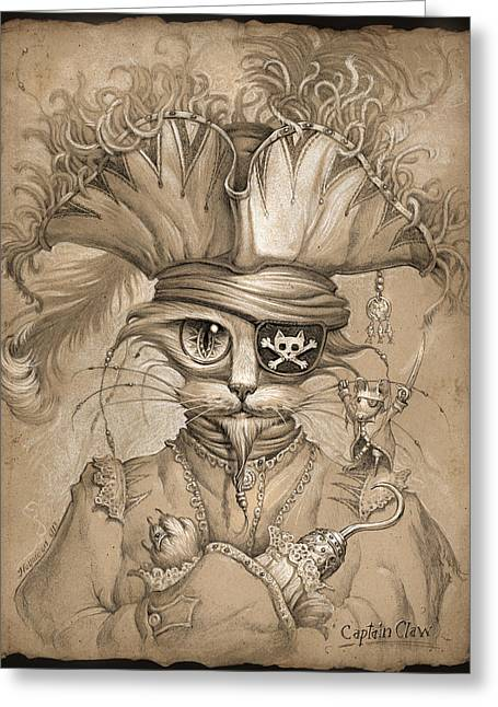 Cute Kitten Drawings Greeting Cards - Captain Claw Greeting Card by Jeff Haynie