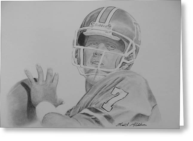 Pro Football Drawings Greeting Cards - Captain Comeback Greeting Card by Brent  Mileham