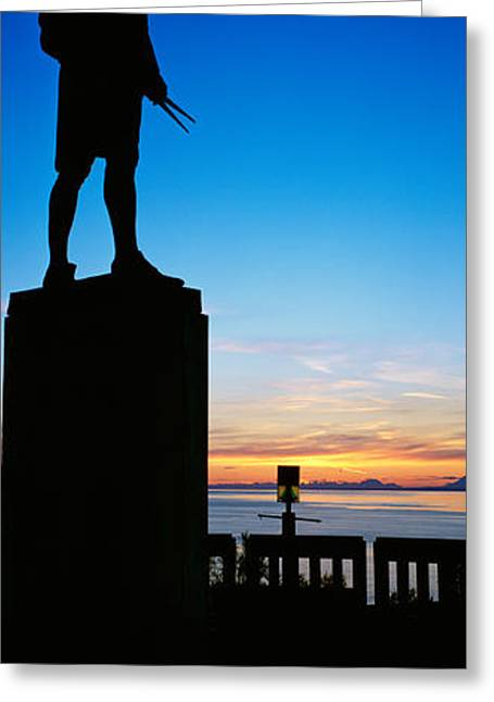 Male Likeness Greeting Cards - Captain Cook Monument Silhouetted Greeting Card by Panoramic Images