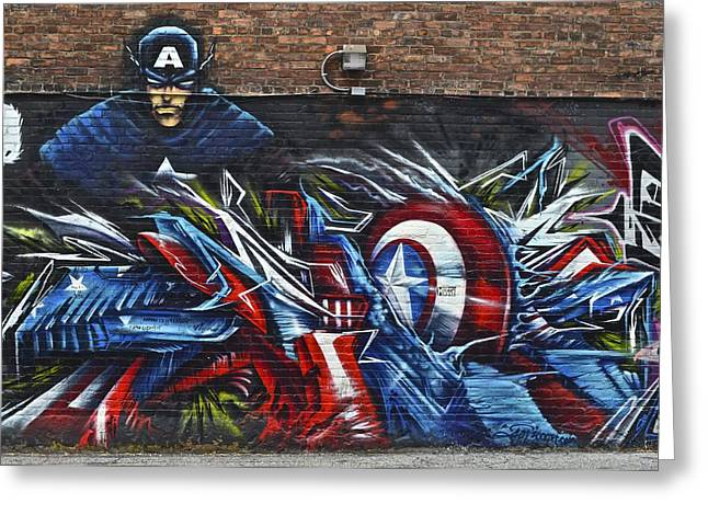 Captain America Photographs Greeting Cards - Captain Graffiti Greeting Card by Frozen in Time Fine Art Photography