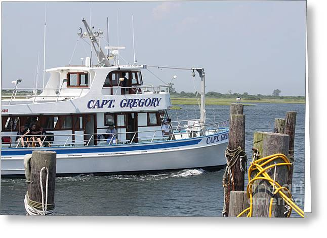 Slip Ins Greeting Cards - Captain Gregory Fishing Boat Leaving Captree Greeting Card by John Telfer