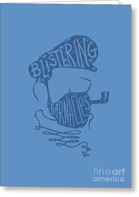 Funny Pop Culture Greeting Cards - Captain Haddock Greeting Card by Budi Kwan