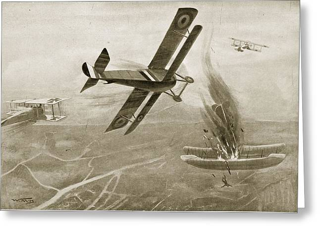 Bravery Drawings Greeting Cards - Captain Hawkers Aerial Battle Greeting Card by W. Avis
