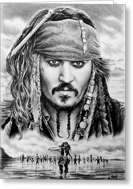 Johnny Depp Poster Greeting Cards - Captain Jack Sparrow 2 Greeting Card by Andrew Read
