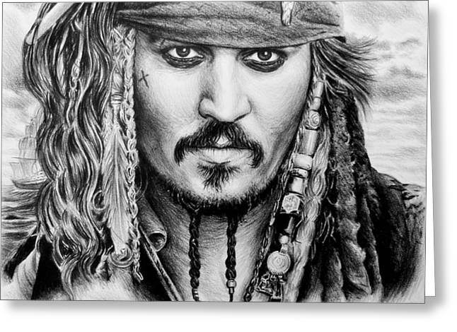 Captain Jack Sparrow 2 Greeting Card by Andrew Read