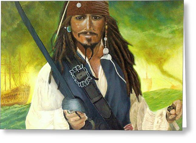Buccaneer Paintings Greeting Cards - Captain Jack Sparrow Greeting Card by Alan Minshull