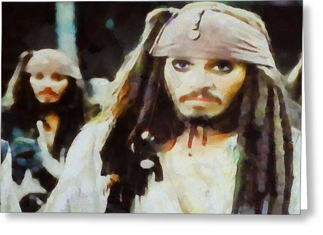 Sparrow Mixed Media Greeting Cards - Captain Jack Sparrow Greeting Card by Dan Sproul