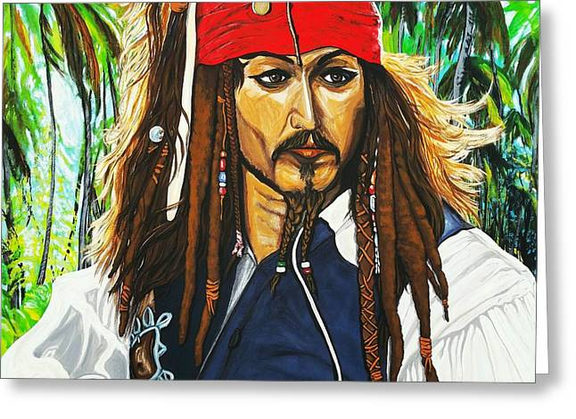 Famous Person Mixed Media Greeting Cards - Captain Jack Sparrow Greeting Card by Edward Pebworth