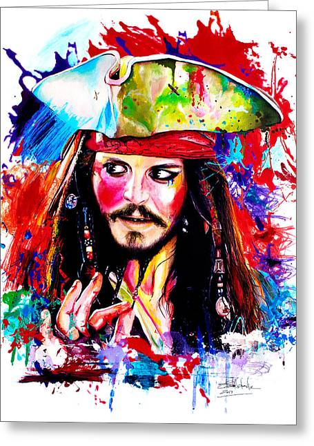 Chest Mixed Media Greeting Cards - Captain Jack Sparrow  Greeting Card by Isabel Salvador