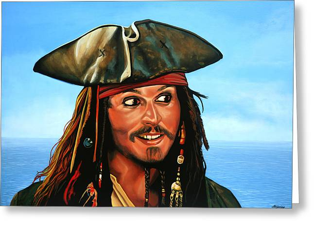Keith Richards Paintings Greeting Cards - Captain Jack Sparrow Greeting Card by Paul  Meijering