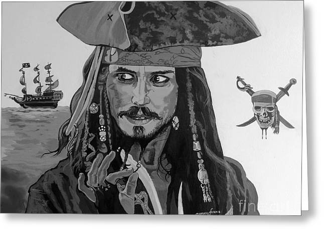 Captain Jack Sparrow Greeting Card by Sonny Chana