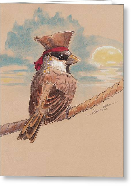 Pirates Mixed Media Greeting Cards - Captain Jack Sparrow Greeting Card by Tracie Thompson