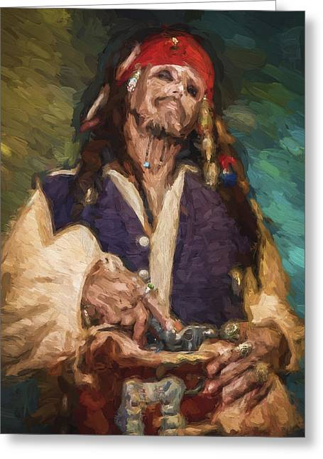 Captain Jack Sparrow Art Greeting Cards - Captain Jack Sparrow Greeting Card by Vivian Frerichs