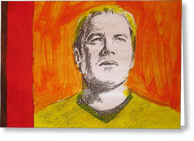 Captain James T Kirk - Rendering With Pencil And Paint Greeting Card by David Lovins