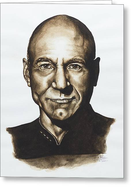 Roddenberry Paintings Greeting Cards - captain Jean Luc Picard Star Trek TNG Greeting Card by Giulia Riva