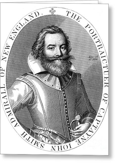 Colonial Man Greeting Cards - Captain John Smith, English Explorer Greeting Card by Photo Researchers