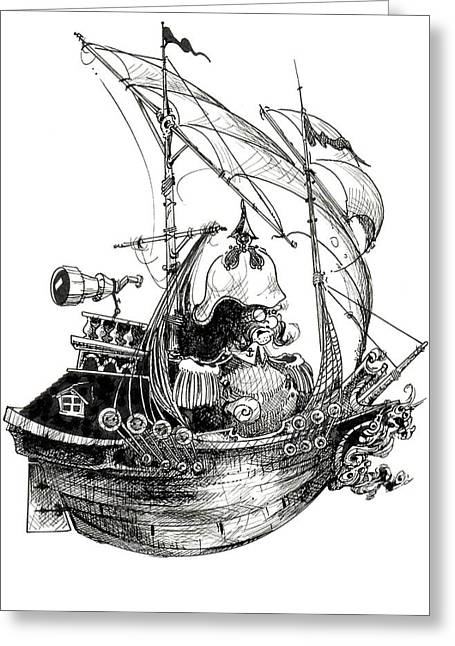Wooden Ship Drawings Greeting Cards - Yate Greeting Card by Julio R Lopez Jr