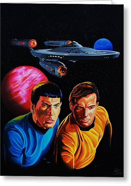 Enterprise Paintings Greeting Cards - Captain Kirk and Mr. Spock Greeting Card by Robert Steen