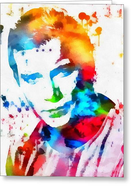 Shatner Greeting Cards - Captain Kirk Watercolor Paint Splatter Greeting Card by Dan Sproul
