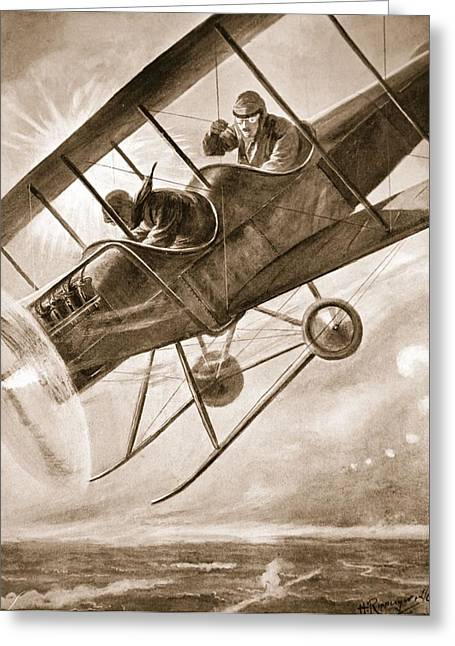 Bravery Drawings Greeting Cards - Captain Liddell Piloting His Aeroplane Greeting Card by H. Ripperger