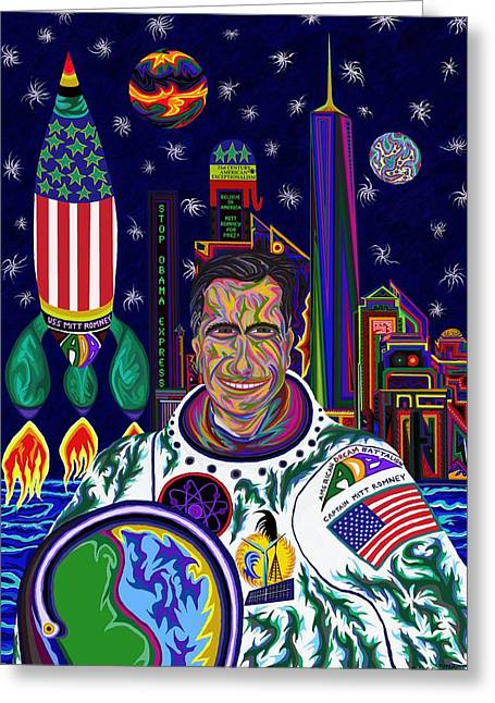 Barrack-obama Greeting Cards - Captain Mitt Romney - American Dream Warrior Greeting Card by Robert  SORENSEN