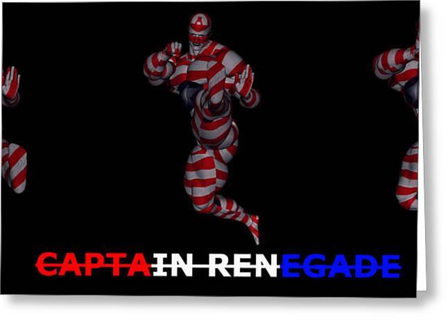 Enforcer Greeting Cards - Captain Renegade Super Hero Jumping Karate Kick Greeting Card by R Muirhead Art