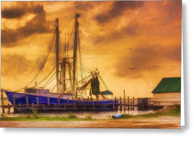 Shrimp Boat Captains Greeting Cards - Shrimp Boat - Dock - Captain Rickys Boat Greeting Card by Barry Jones