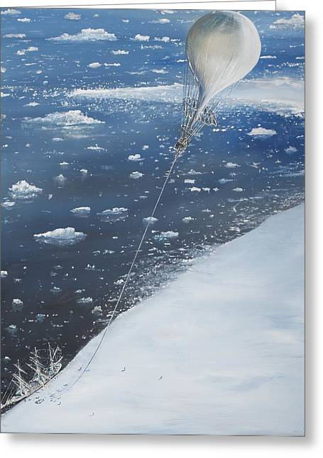 Exploring Paintings Greeting Cards - Captain Scott Antarcticas first Aeronaut Greeting Card by Vincent Alexander Booth