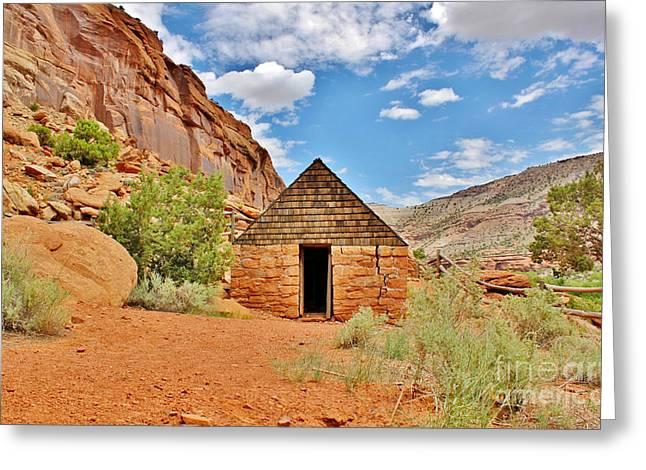 Barn Door Greeting Cards - Captain Smiths Cabin Escalante Canyon Greeting Card by Janice Rae Pariza