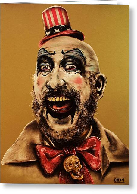 Scary Clown Greeting Cards - Captain Spalding Greeting Card by Brent Andrew Doty