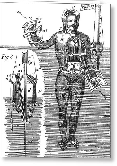 Buoyancy Greeting Cards - Captain Stoners Life Saving Device, 1869 Greeting Card by Science Source