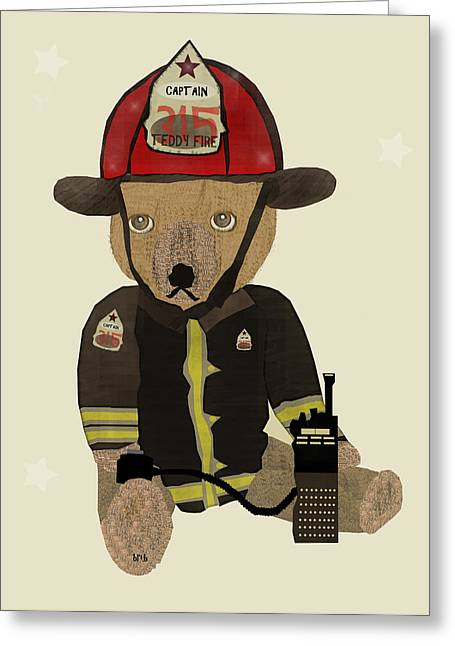 Fireman Posters Greeting Cards - Captain Ted  Greeting Card by Bri Buckley