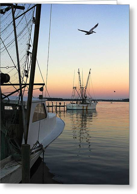 Sunset Scene Greeting Cards - Captain Tony - In for the Night Greeting Card by Mike McGlothlen