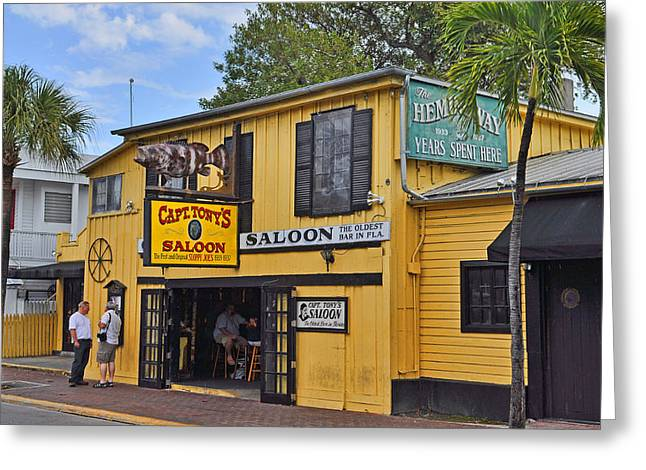 Lobster Sign Greeting Cards - Captain Tonys Saloon Greeting Card by Chris Thaxter