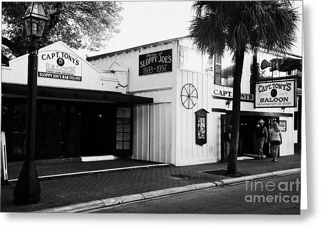 Capt. America Greeting Cards - Captain Tonys Saloon Site Of The Original Sloppy Joes Bar Frequented By Ernest Hemingway Key West Fl Greeting Card by Joe Fox