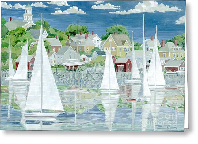Yellow Sailboats Paintings Greeting Cards - Captains Harbor Greeting Card by Paul Brent